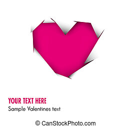 Pink Heart cut out of white paper