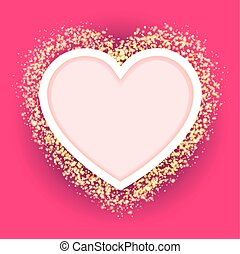 pink heart frame with glittering golden transparent particles. vector