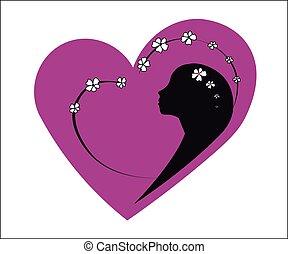 Pink heart girl spring