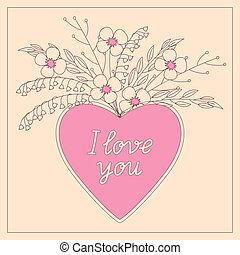 pink heart I love you