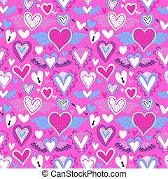 Pink heart icon seamless pattern for love concept