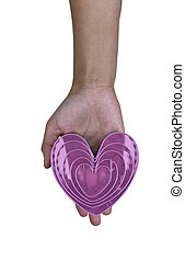 pink heart in hand on isolated white
