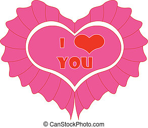 Pink heart  Isolated On White Background, Vector