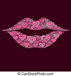 Pink Heart Lips Kiss Mosaic