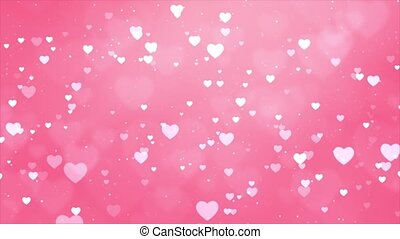 Pink Heart Love Shape Romantic Animated Particles Flying ...