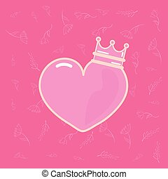 pink heart love with crown