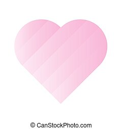 Pink heart of gradient stripes. 3D effect. Symbol of love...