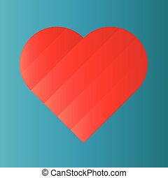 Pink heart of gradient stripes on blue background. 3D...