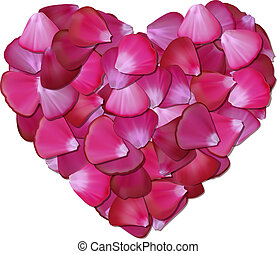 Pink heart of petals on white background