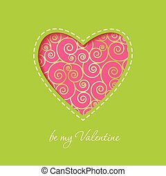 Pink heart on a green background Valentines day card