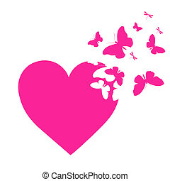 pink heart, on a white