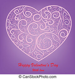 pink heart on lilac background