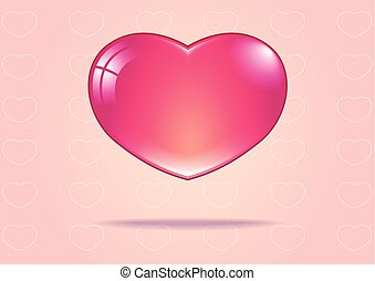 pink heart on the pink background with white heart stroke