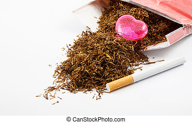 Heart on Tobacco on white background