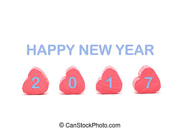 pink heart on white background with happy new year 2017 blue...