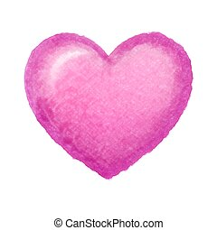 Pink heart on white, watercolor drawing