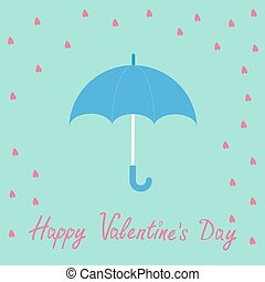 Pink heart rain with blue umbrella. Flat design style. Happy Valentines day card