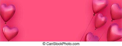 Pink heart shape balloon border.