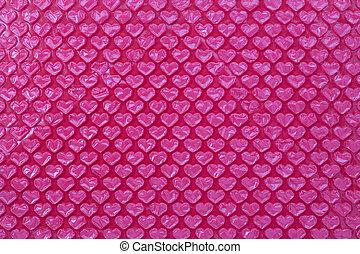 Pink heart shape bubble wrap