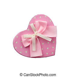 pink heart-shaped cardboard box with bow isolated on white background
