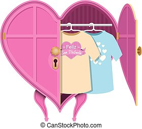 Pink heart-shaped clothes closet with an open door, inside there are two shirts with the message: Feliz San Valentin - Happy Valentine's Day in Spanish language – Vector image