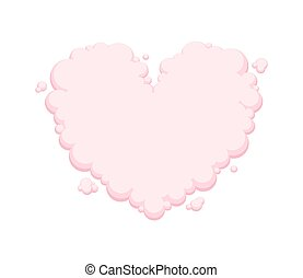 Pink heart shaped cloud isolated on white background. Vector illustration.