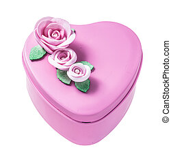 Pink heart-shaped gift box isolated on white