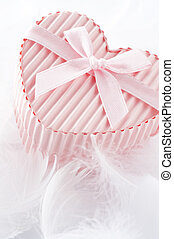 Pink heart shaped gift box