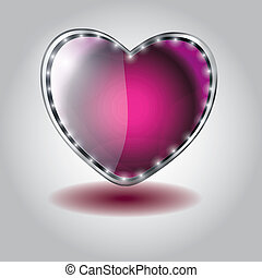 pink heart shaped glass button. vector illustration on valentine`s day