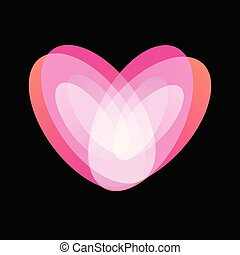 Pink heart, tender teenage love symbol. Happy Valentines Day abstract vector logo on black background.