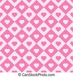 Pink heart tiles. Vector seamless pattern background