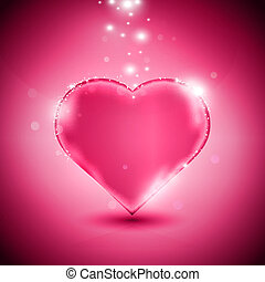 Pink heart - Valentines day card with glossy pink heart,...