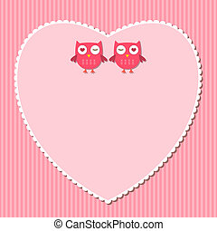 Pink heart vector frame