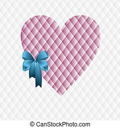 Pink heart with a blue bow