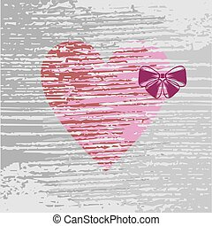 Pink heart with a lilac bow