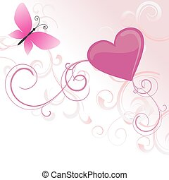 pink heart with flowers and butterfly isolated on white