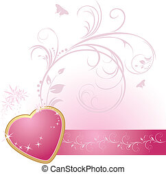 Pink heart with ornament
