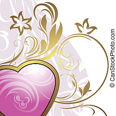 Pink heart with ornamental elements