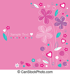 pink hearts and flowers card