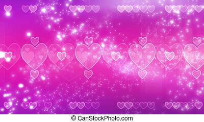 Pink Hearts and Particles Looping Valentines Day Animation
