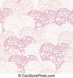 Pink hearts background on white. Seamless pattern