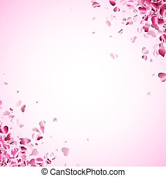 Pink hearts confetti frame on light pink background.