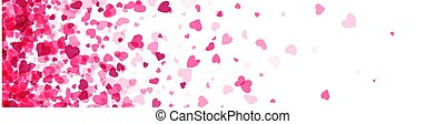 Pink hearts confetti frame on white background.