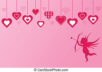 Pink Hearts Cupid Background