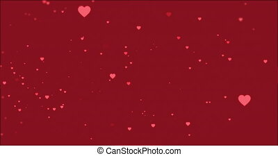 Pink hearts falling on a dark red background
