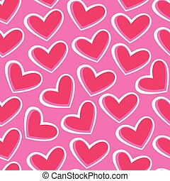 Pink hearts in a seamless pattern