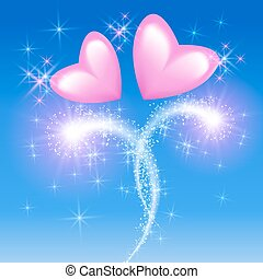Pink hearts in the sky