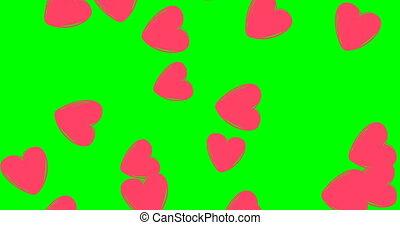 pink hearts, many hearts on green screen. Background. rain ...