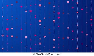 Pink hearts on dark blue background video animation