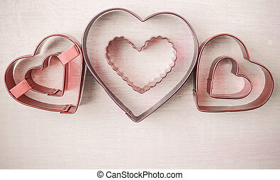 Pink Hearts on Wood Background for Valentine's Day
